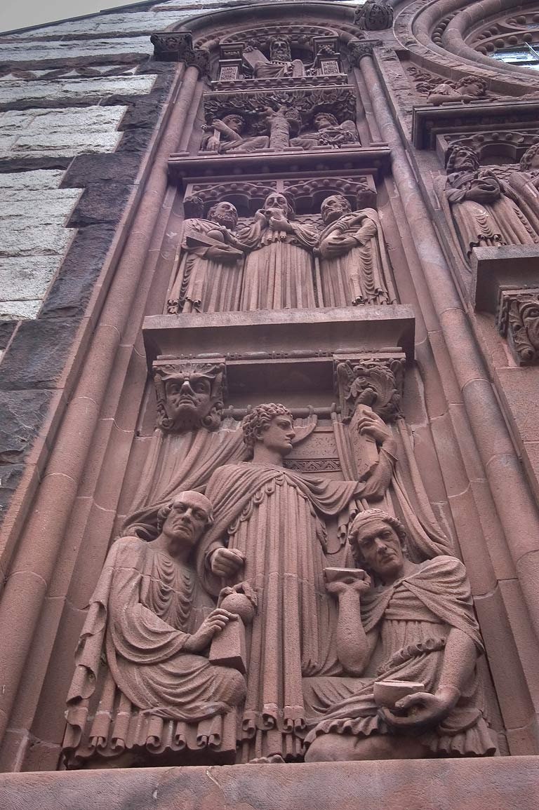 Reliefs of Alexander Hall in Princeton University. Princeton, New Jersey