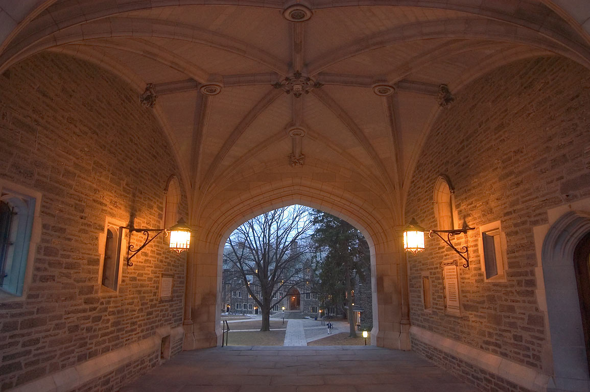 Arch and lanterns of Blair Hall in Princeton University. Princeton, New Jersey