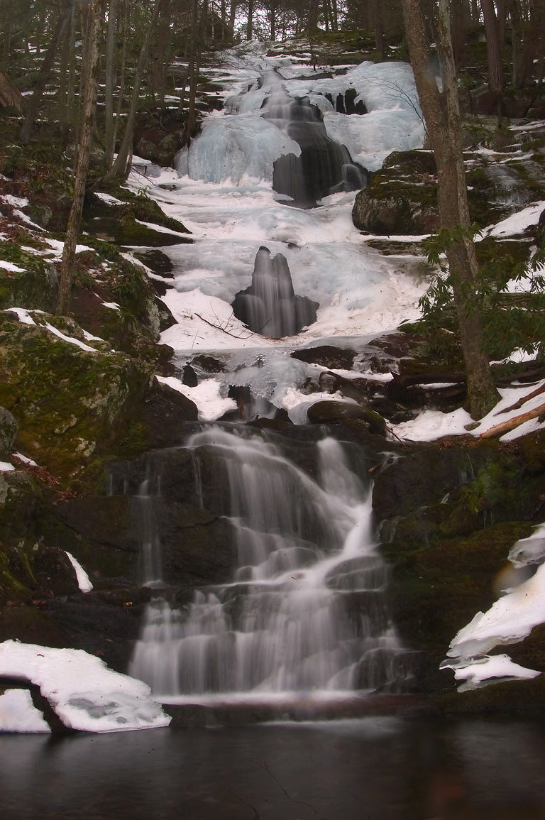 Frozen Buttermilk Falls on Mountain Rd. in Delaware Water Gap. New Jersey