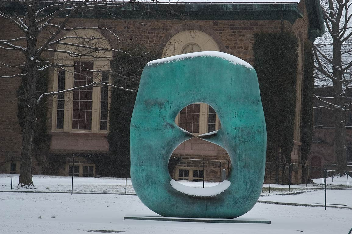 "A sculpture of Henry Moore ""Oval with Points...University. Princeton, New Jersey"