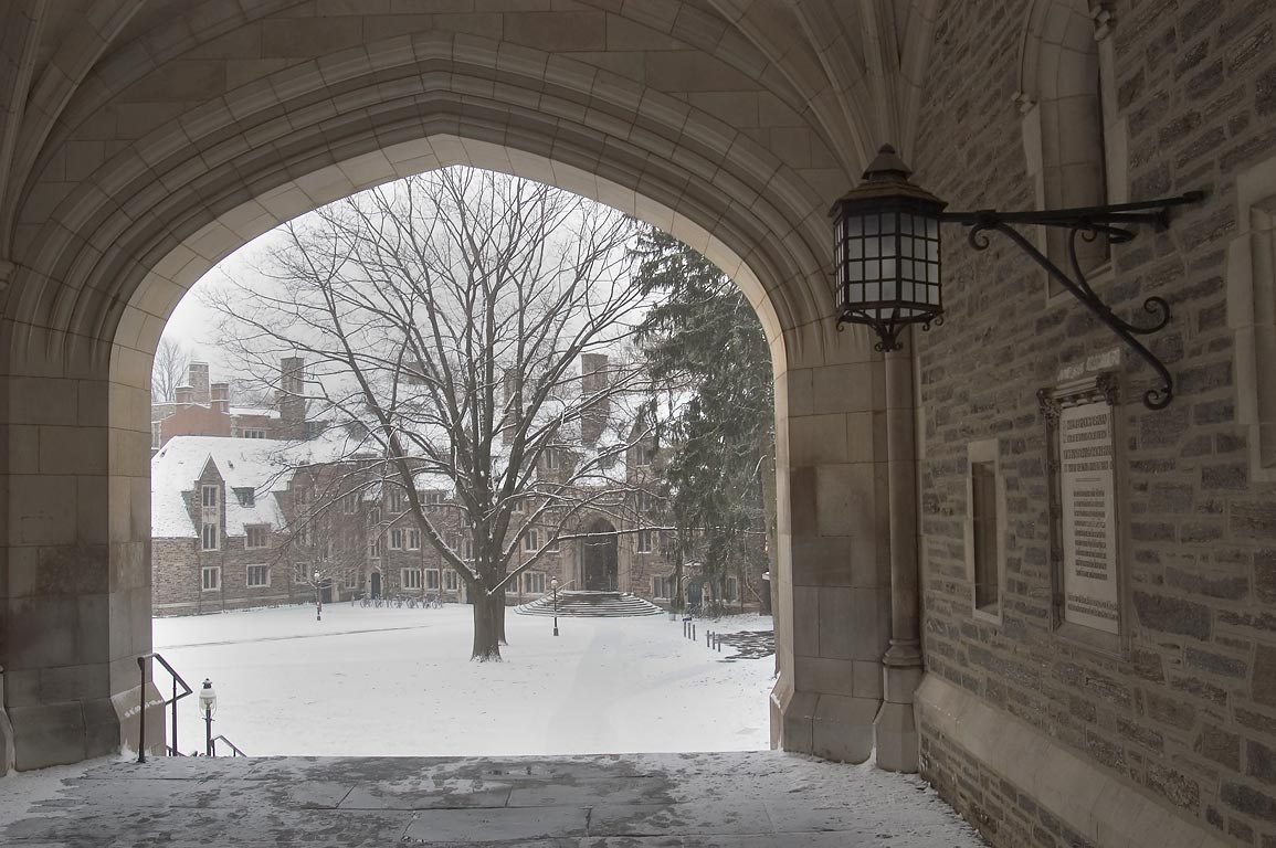 View of Lockhart Hall from arched gate of Blair...University. Princeton, New Jersey