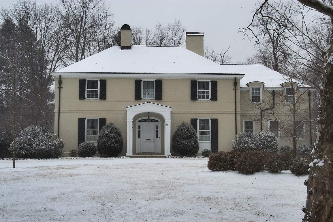 A house at 91 Battle Rd. in snow. Princeton, New Jersey