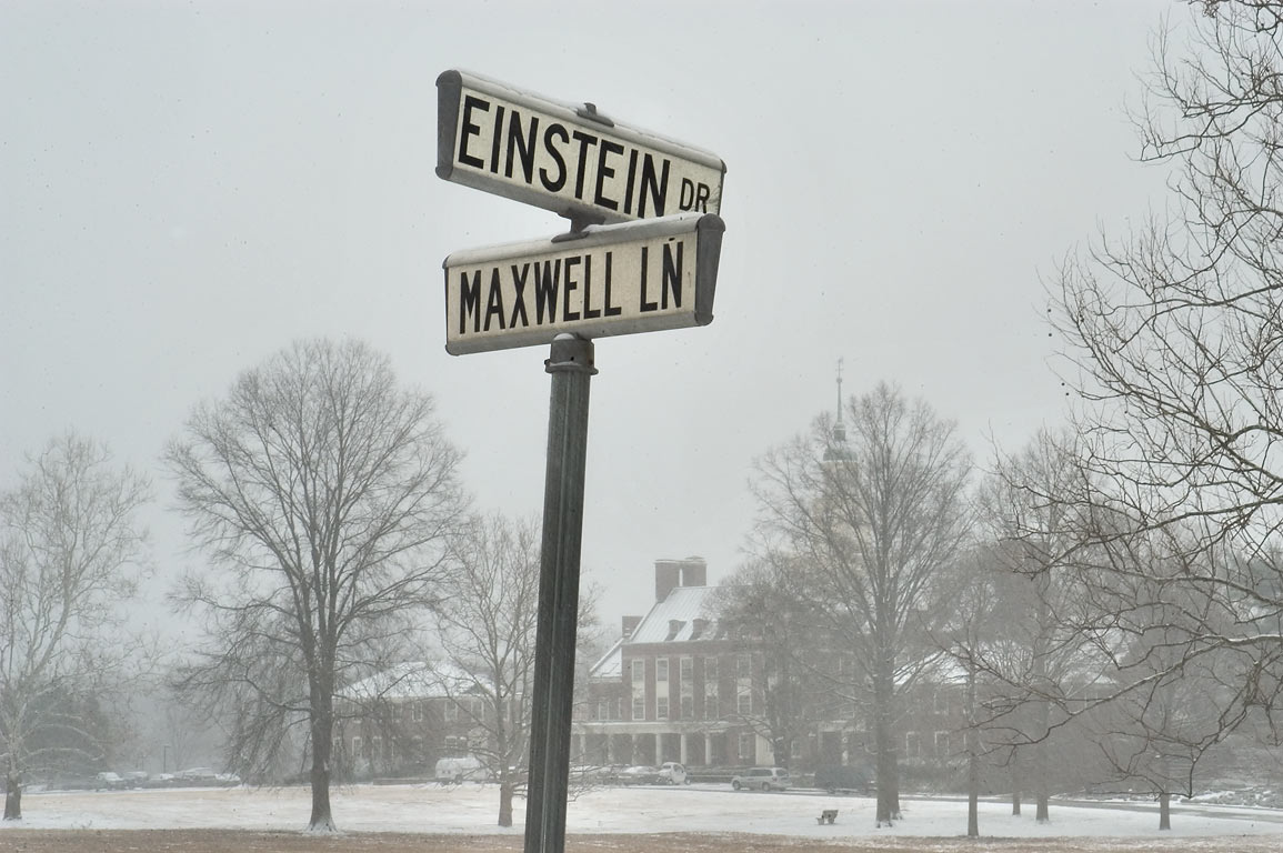 Crossing of Einstein Dr. and Maxwell Lane, with...in background. Princeton, New Jersey