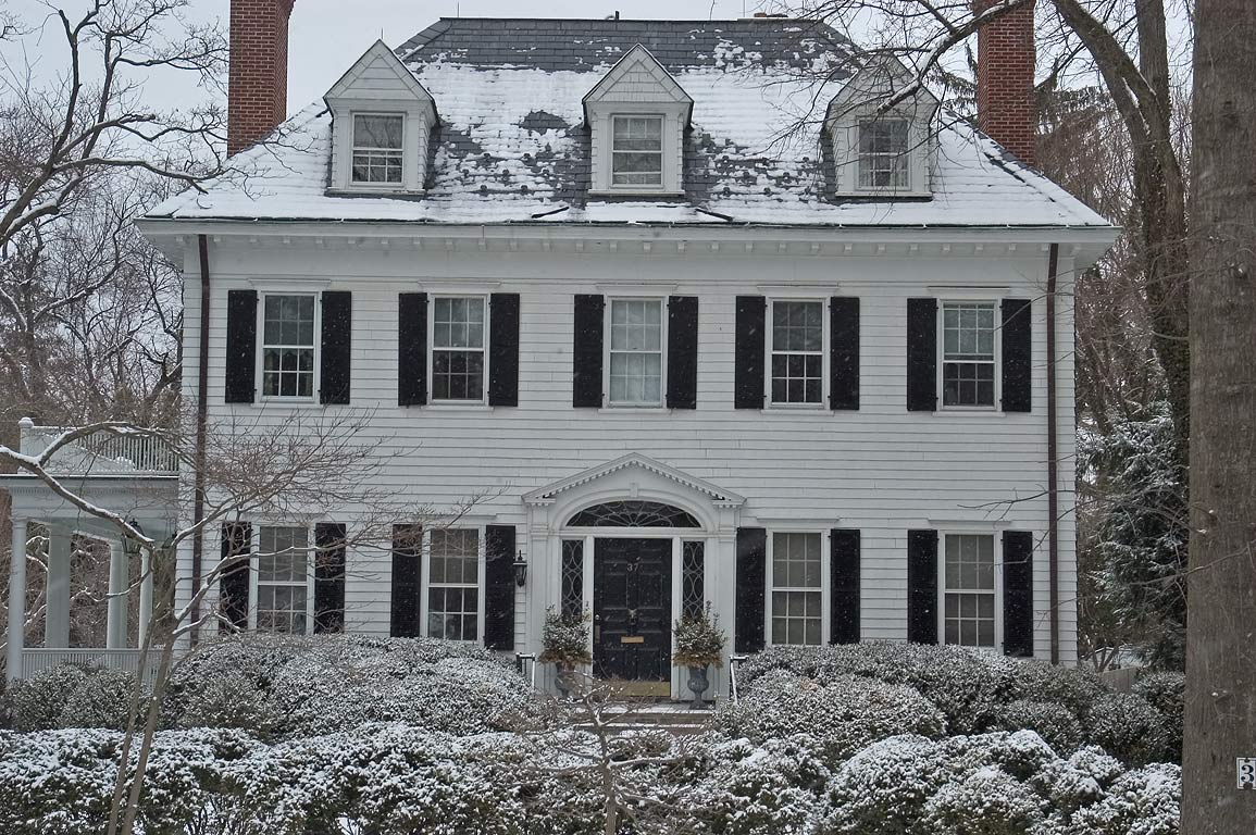 A white house at 37 Hodge Rd.. Princeton, New Jersey
