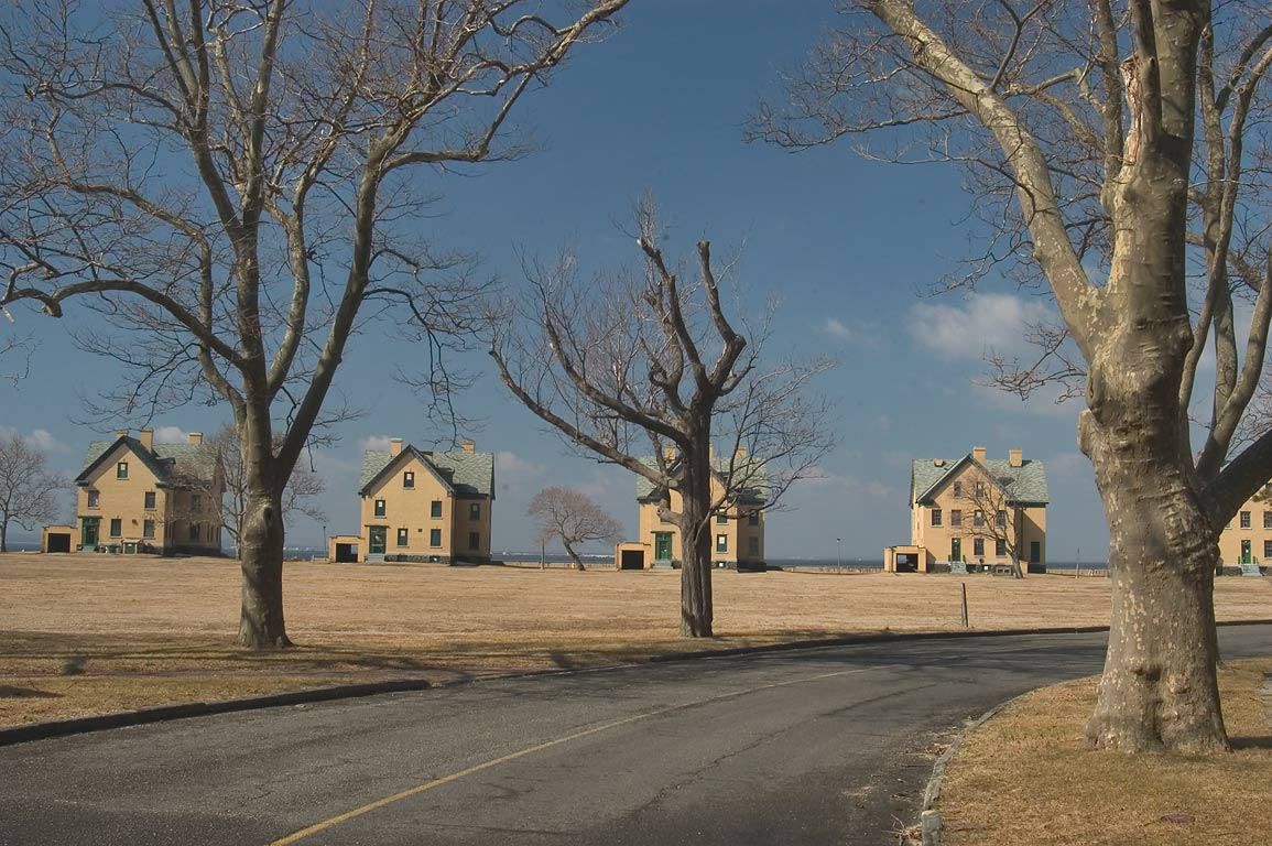 Parade Ground and barracks, view from Guardian Park road. Sandy Hook, New Jersey