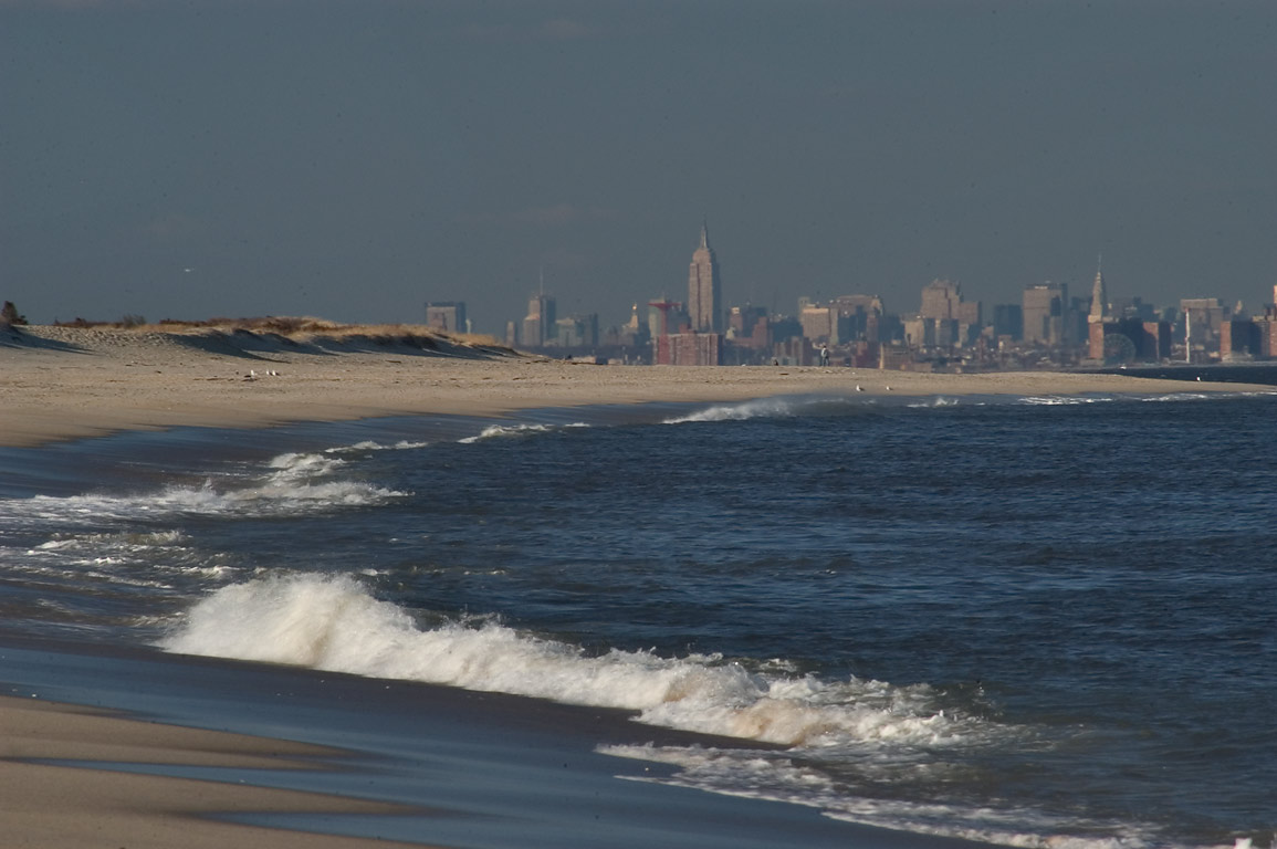 View of Manhattan from North Beach. Sandy Hook, New Jersey