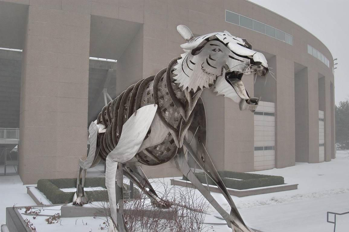 A stainless steel tiger in front of Princeton Stadium. Princeton, New Jersey