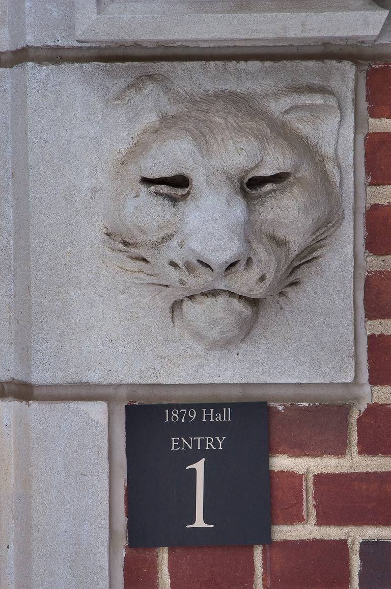 A statue of a tiger at Entry No. 1 of 1879 Hall...University. Princeton, New Jersey