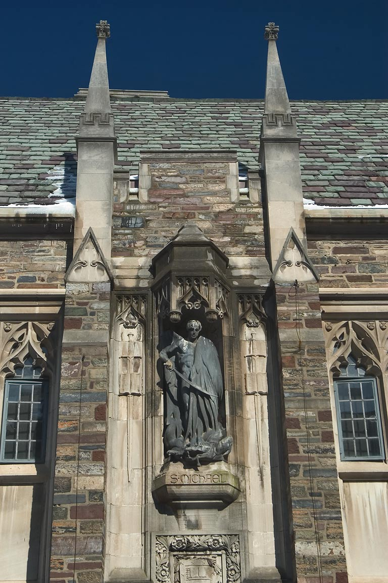 A statue of Foulke Hall in Princeton University...Place St.. Princeton, New Jersey