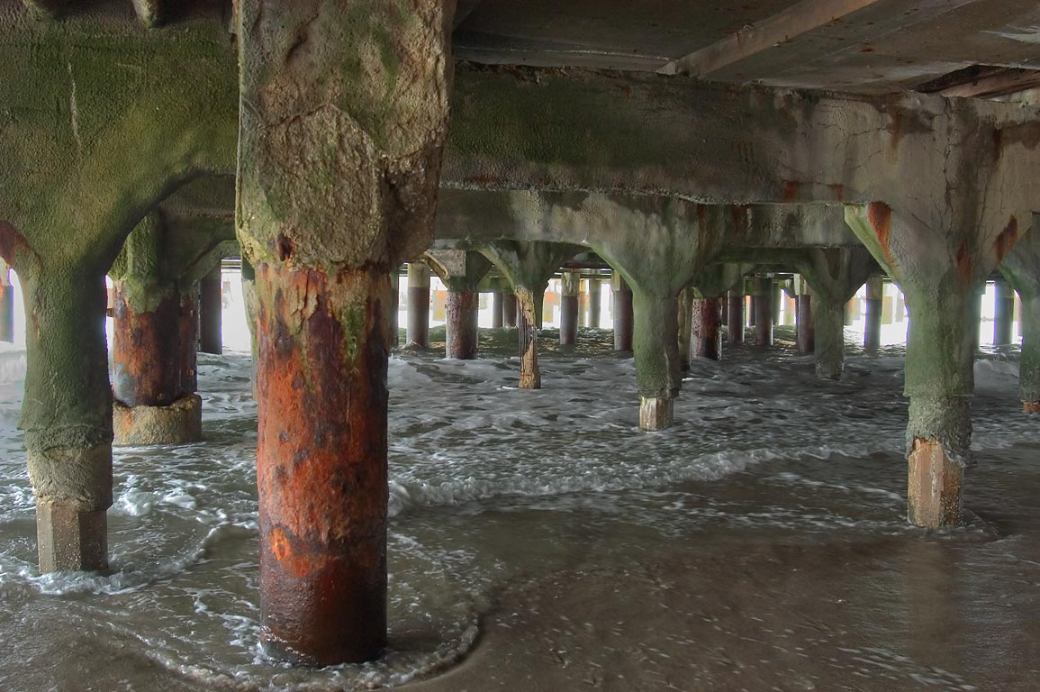 A beach under Garden Pier. Atlantic City, New Jersey