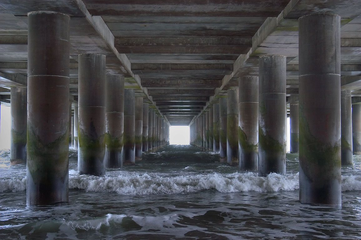 Atlantic Ocean underneath Steel Pier. Atlantic City, New Jersey