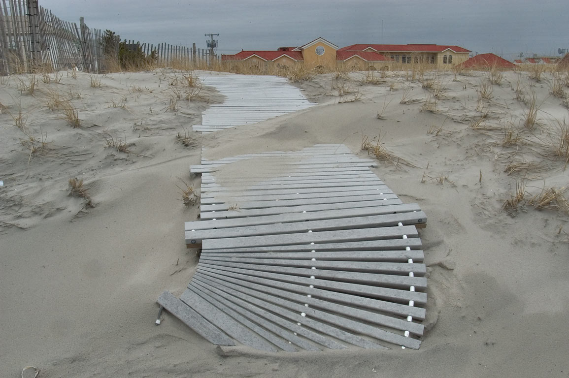 A beach boardwalk in Ventnor City. Atlantic City, New Jersey