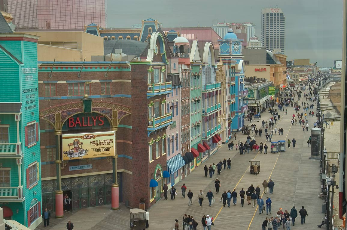 The beach boardwalk and Bally's Casino, view from...overpass. Atlantic City, New Jersey