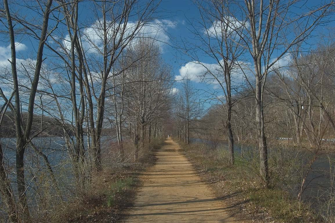A path between Lake Carnegie and Delaware and Raritan Canal. Princeton, New Jersey