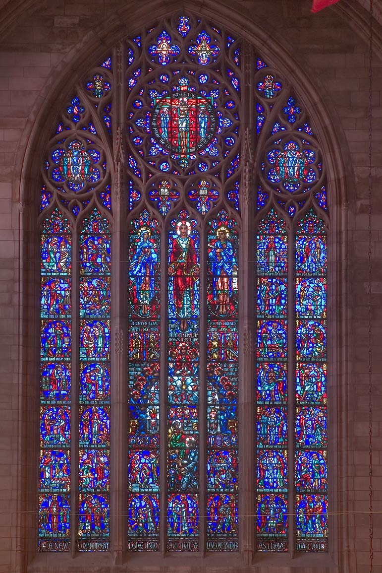 Stained glass window of Princeton University Chapel. Princeton, New Jersey