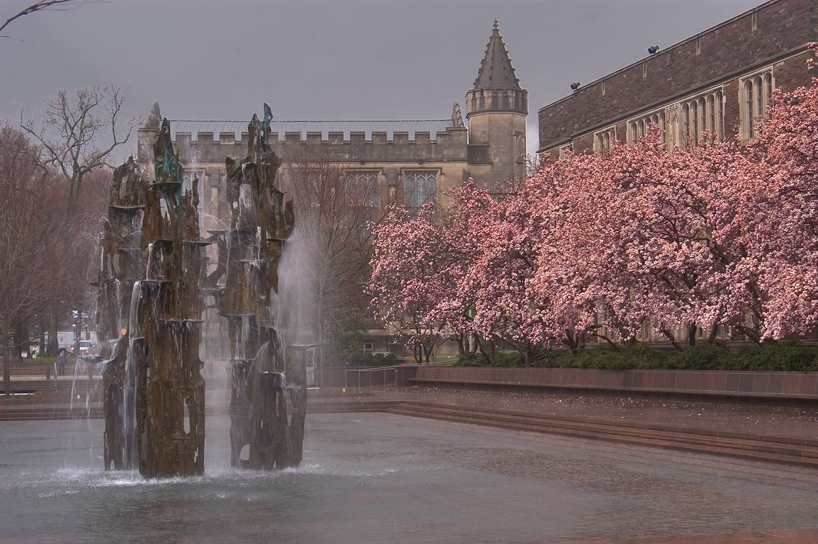 A fountain on Woodrow Wilson School Plaza and...University. Princeton, New Jersey