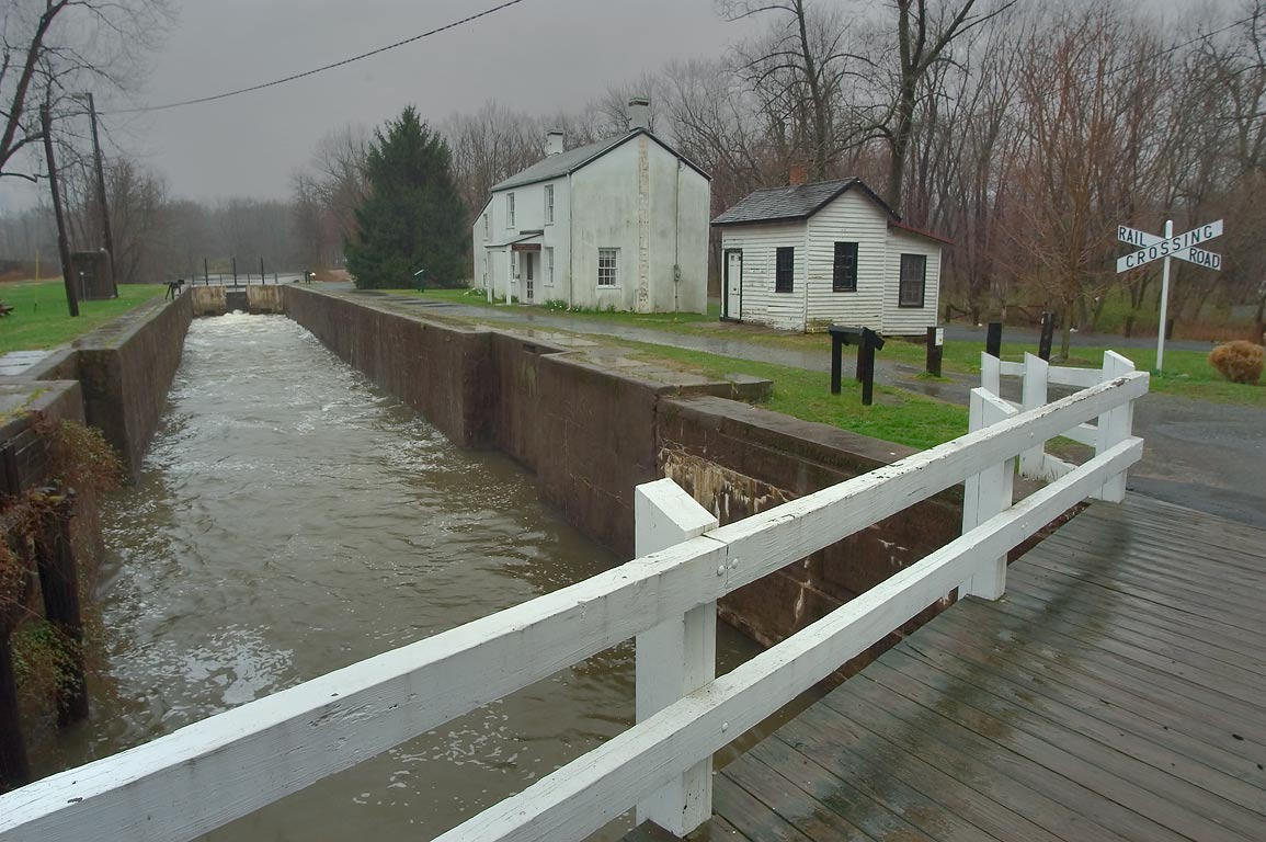 A lock of Millstone River near Kingston after a rain. New Jersey