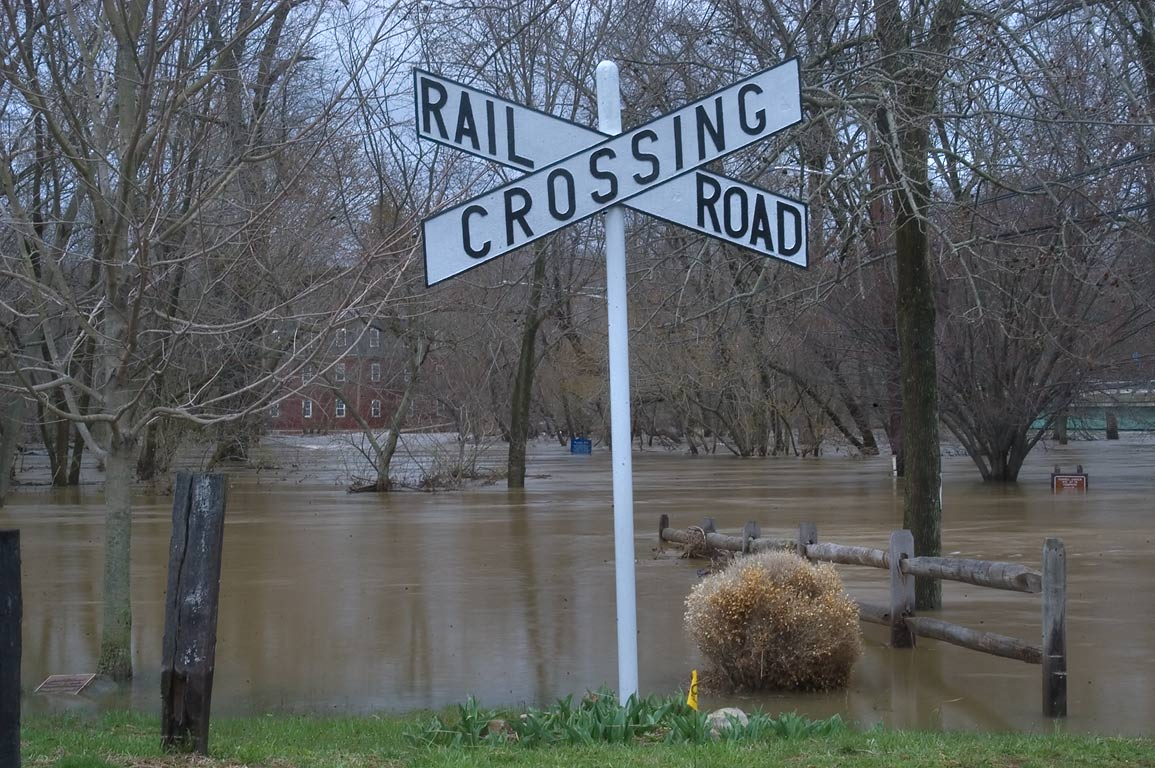 Flooding of Millstone River bridge in Delaware...near Rd. 27. Kingston, New Jersey