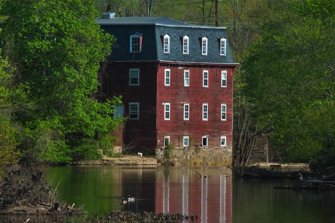 A mill, view from a dam in Delaware and Raritan...Carnegie Lake. Kingston, New Jersey