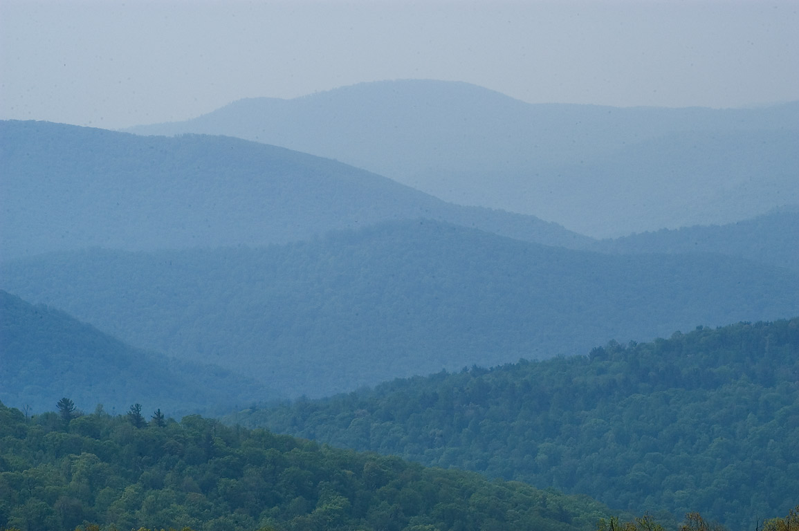 Hazy hills from Range View Overlook of Skyline Dr.. Luray, Virginia