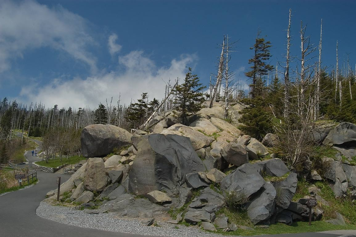 Rocks near parking at Clingmans Dome. Smoky Mountains National Park, Tennessee