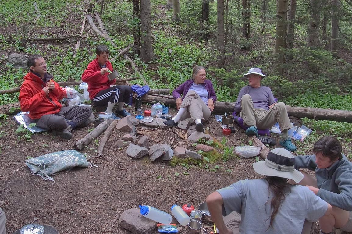A group of people from Dallas Sierra Club near...Sangre de Cristo Mountains. Colorado