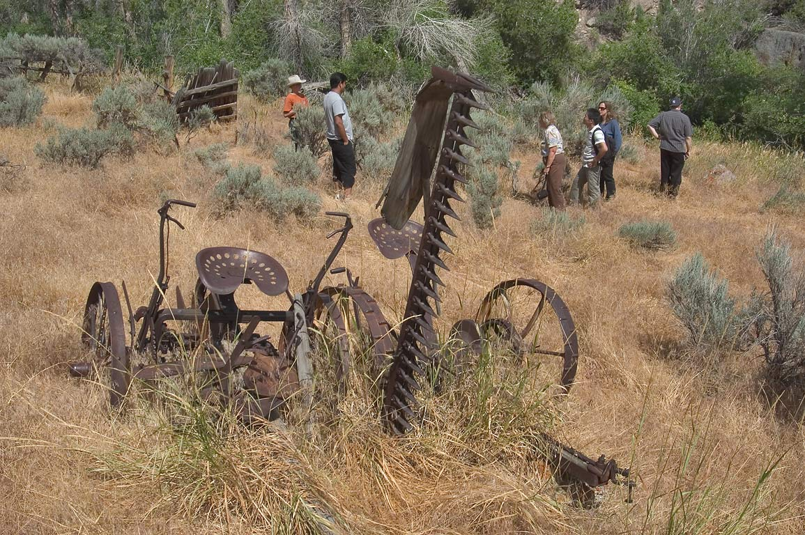 Exploring old farm machinery on the ranch near Casper. Wyoming