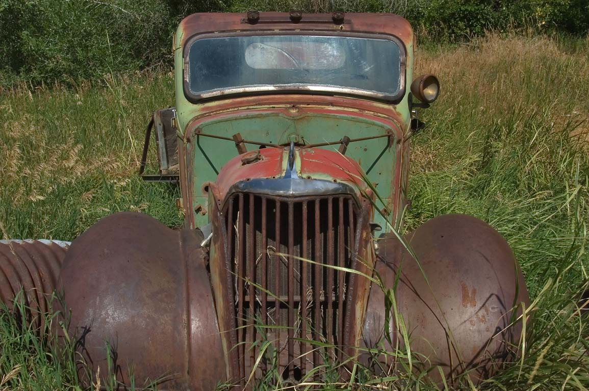 Vintage car behind the ranch near Casper. Wyoming
