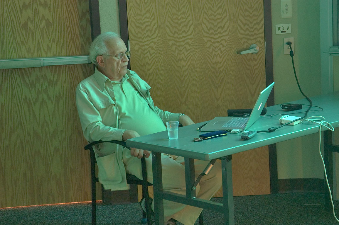 R. Glauber watching a movie at the end of a physics workshop. Casper, Wyoming