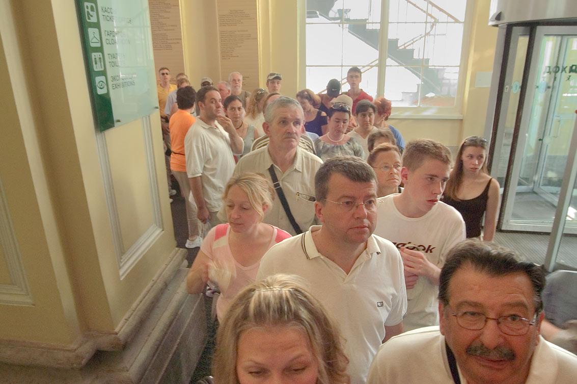 People standing in line to enter Hermitage museum. St.Petersburg, Russia