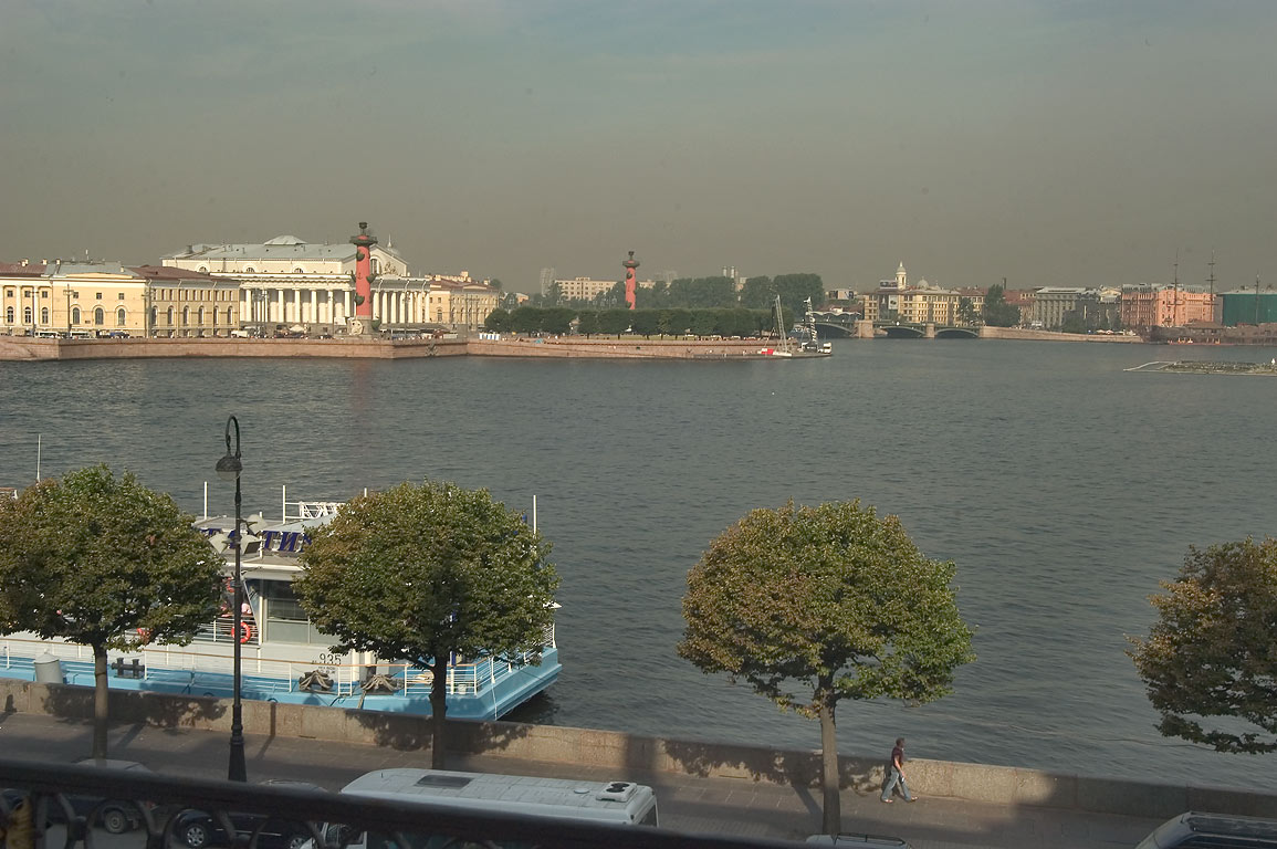 Neva River and Vasilyevsky Ostrov from a window of Hermitage museum. St.Petersburg, Russia