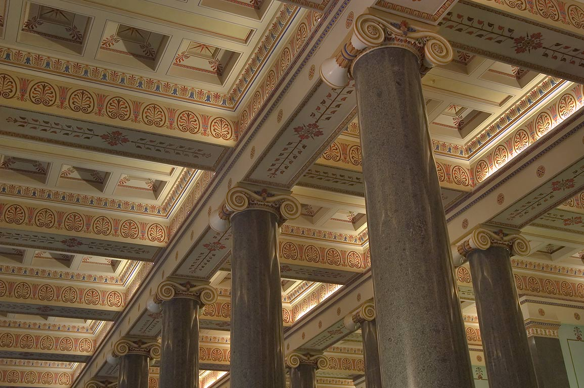 Granite columns in the hall of ancient art in Hermitage museum. St.Petersburg, Russia