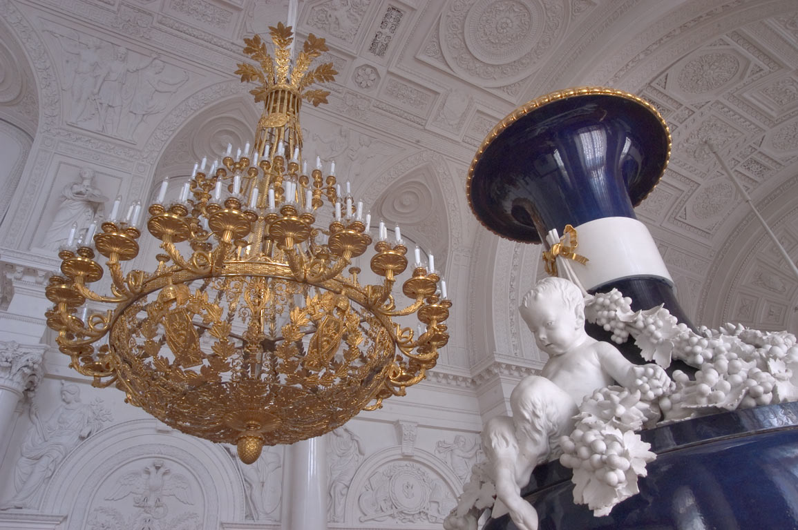 Vase and a candelabrum in Hermitage museum. St.Petersburg, Russia