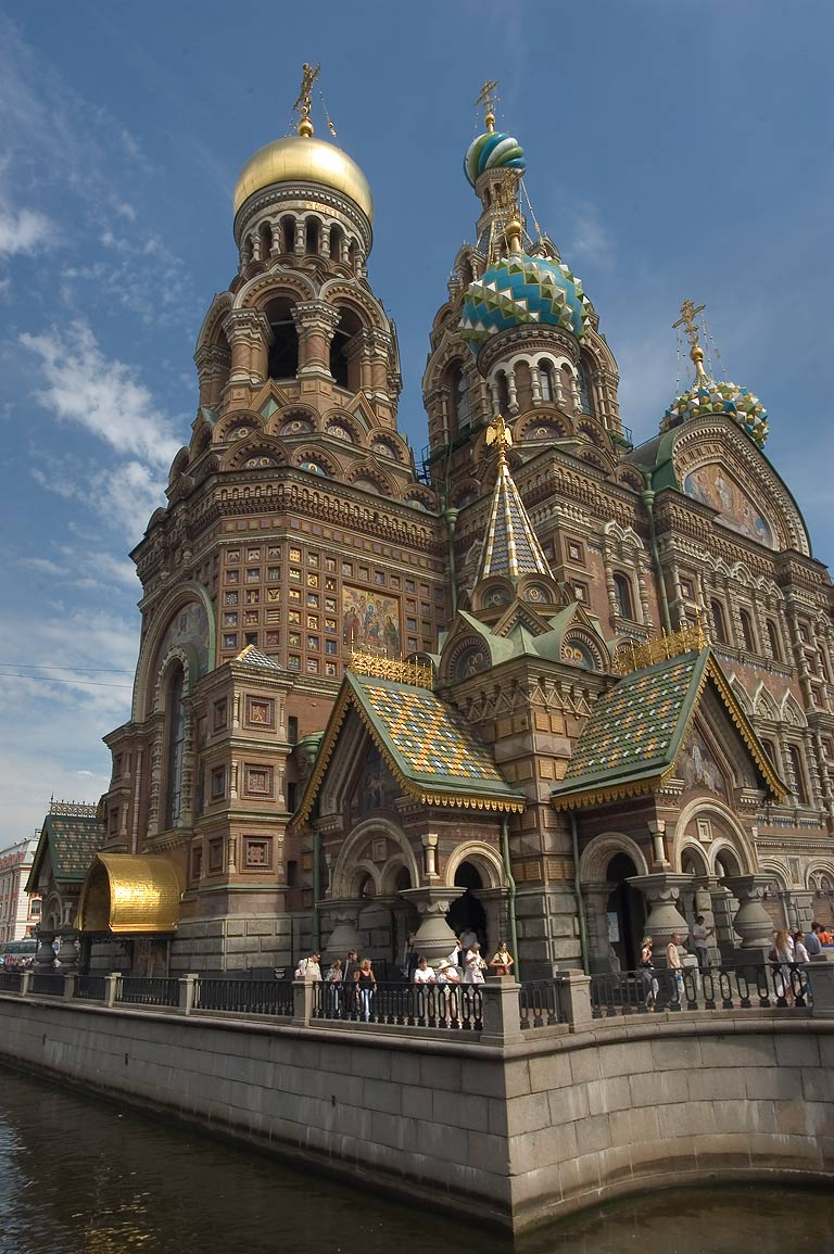 Church of Savior on Blood, view from Kanal Griboedova embankment. St.Petersburg, Russia