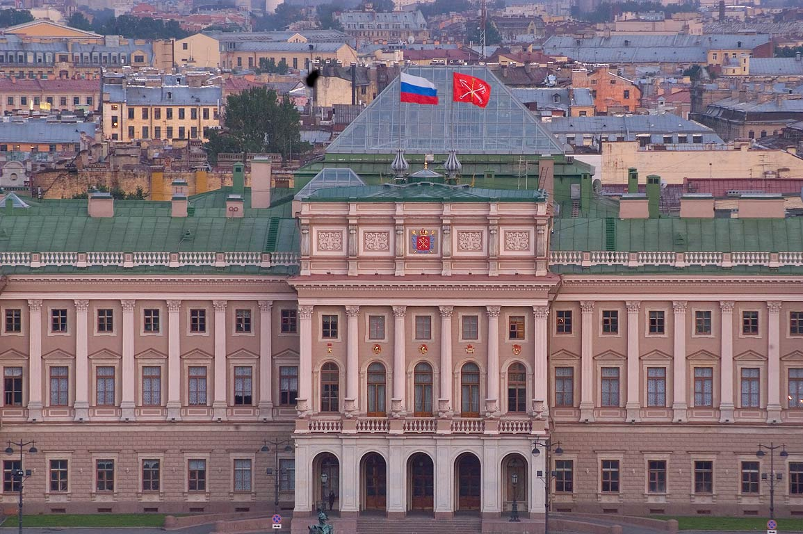 City Hall (Mariinsky Palace) from colonnade of St.Isaac Cathedral. St.Petersburg, Russia