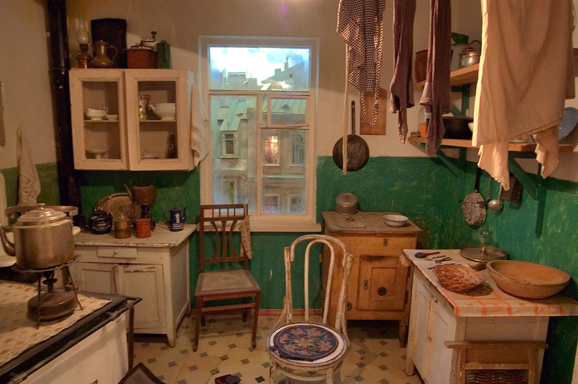 Reconstruction of Soviet style kitchen in Museum...Mansion). St.Petersburg, Russia