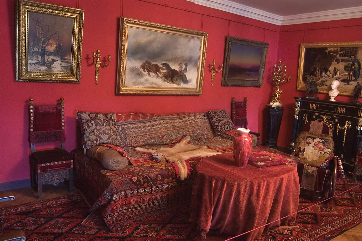 Red living room in Pavlovsky Palace. Pavlovsk, a suburb of St.Petersburg, Russia