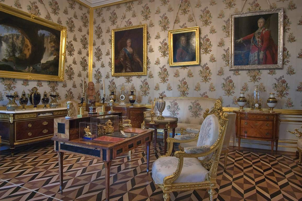 Room with portraits in Grand Palace. Peterhof, a suburb of St.Petersburg, Russia
