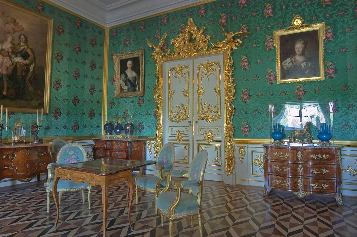Green room in Grand Palace. Peterhof, a suburb of St.Petersburg, Russia