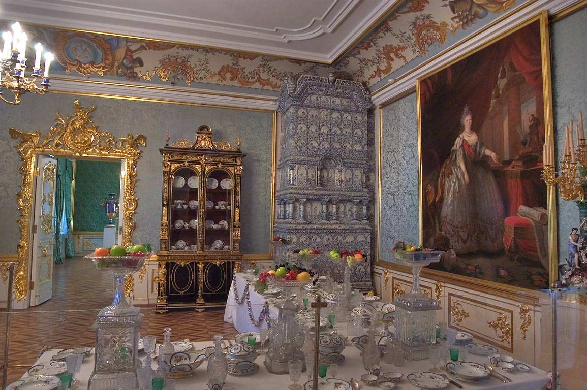 Dining room in Grand Palace. Peterhof, a suburb of St.Petersburg, Russia