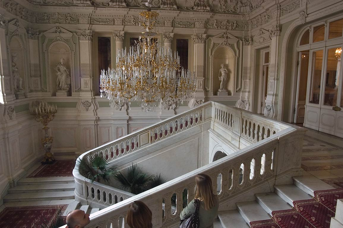 Grand staircase on the second floor of Yusupov Palace. St.Petersburg, Russia
