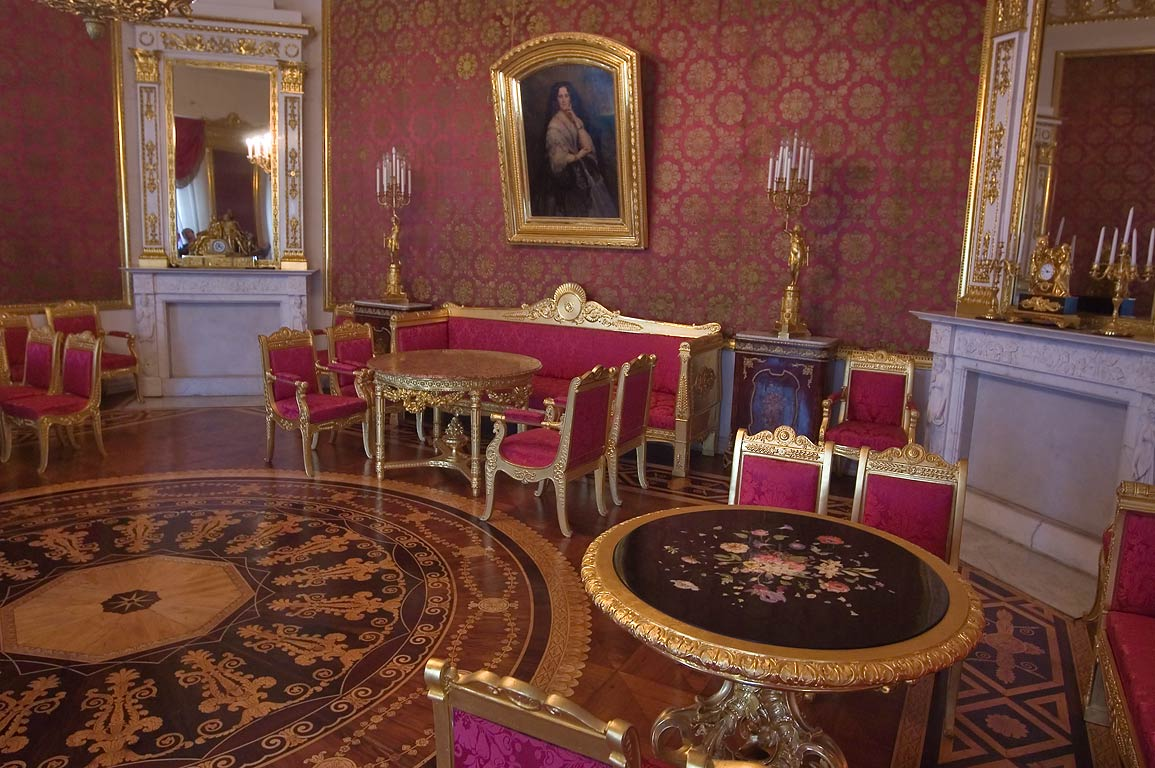 Red Parlor of Yusupov Palace. St.Petersburg, Russia