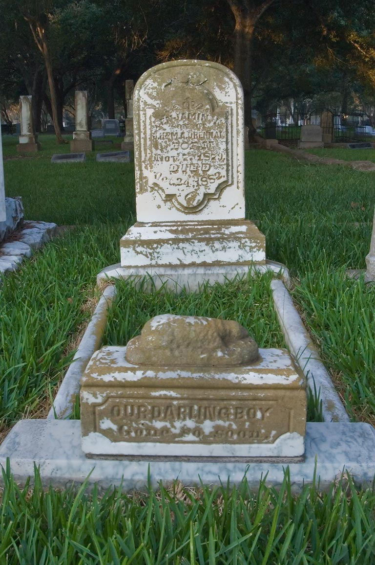 Tomb of Ben-Jamin, son of Drennam in Calvert Cemetery. Calvert, Texas