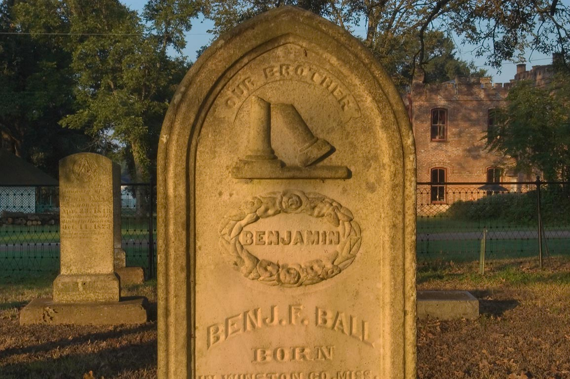 Tomb of Benjamin F. Ball in Calvert Cemetery at...in background. Calvert, Texas