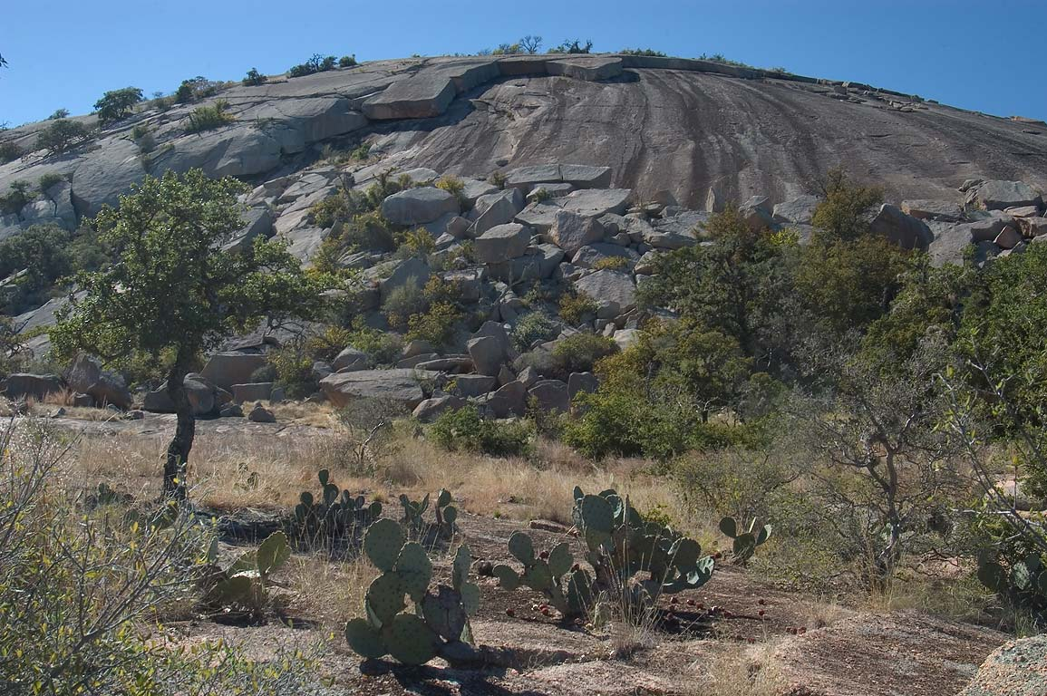 Exfoliation of granites of Enchanted Rock, view...Pass Trail. Fredericksburg, Texas
