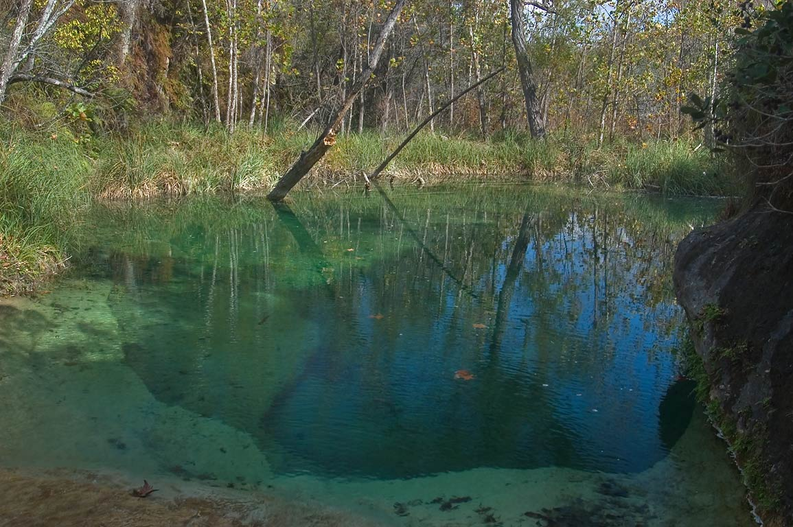 Turquois pool of Bee Creek near Wolf Mountain...Falls State Park. Johnson City, Texas
