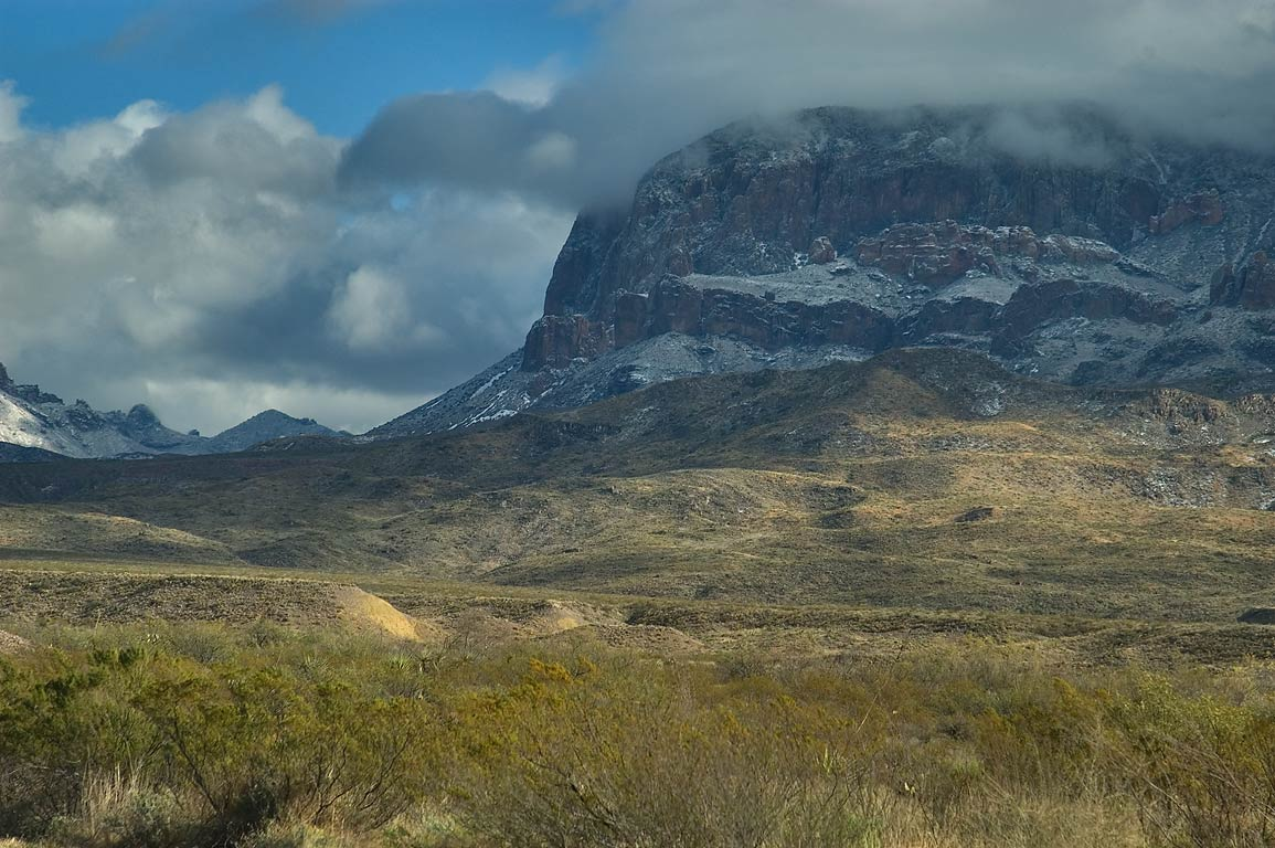 Chisos Mountains with traces of snow, view from...Dr.). Big Bend National Park, Texas