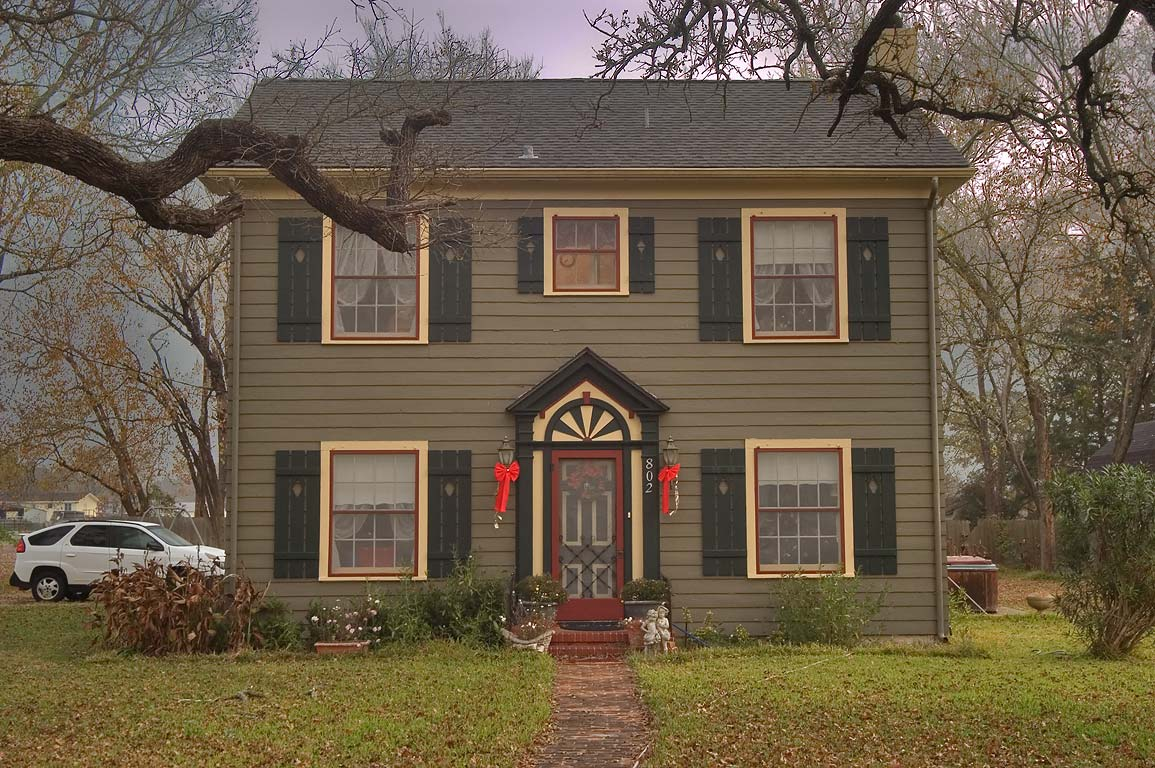 House at 802 Pin Oak St., a corner of Gregg St.. Calvert, Texas