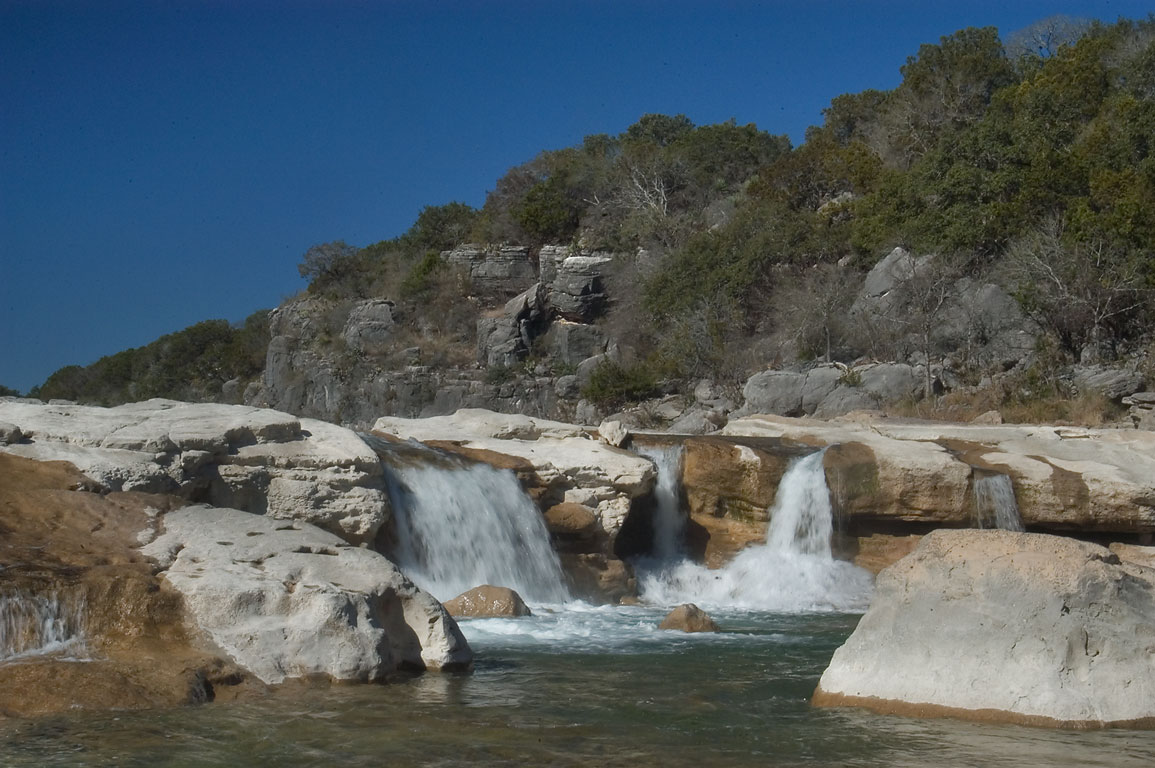 Waterfalls above Pedernales Falls. Johnson City, Texas