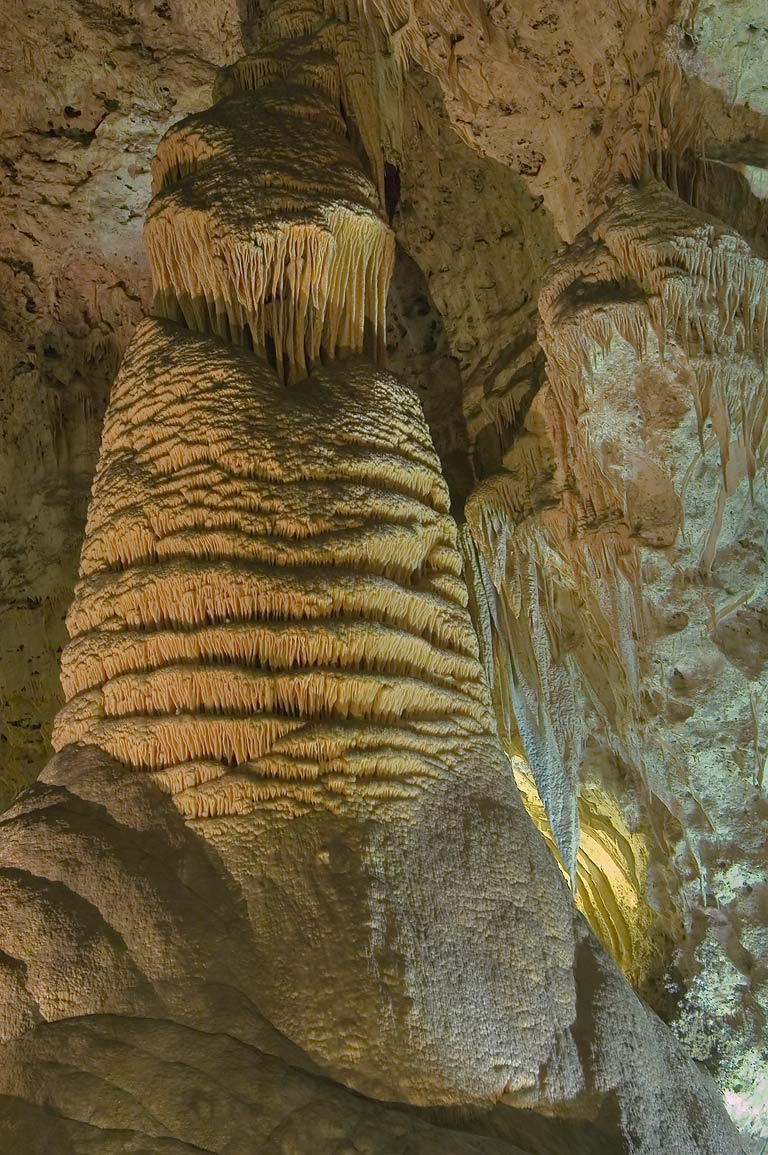 "Huge stalagmite named ""Rock of Ages"" in Big Room of Carlsbad Caverns. New Mexico"